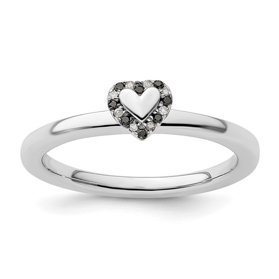 Sterling Silver Heart with 1/20 ct Black and White Diamond Ring