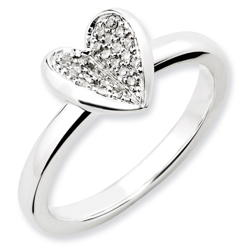 Sterling Silver 1/8 ct Heart with Diamonds Ring