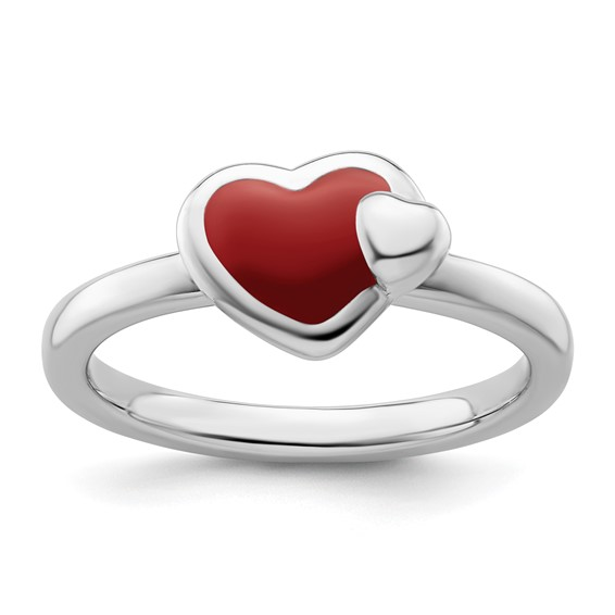 Sterling Silver Stackable Expressions Red Enameled Heart Ring