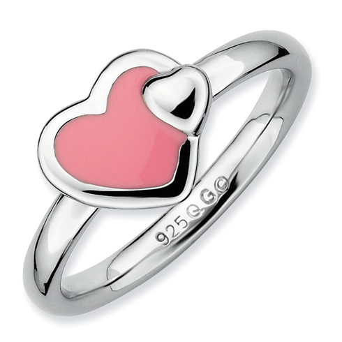Sterling Silver Stackable Expressions Pink Enameled Heart Ring