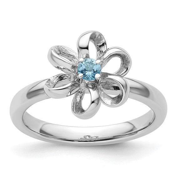 Sterling Silver Stackable Expressions Blue Topaz Flower Ring
