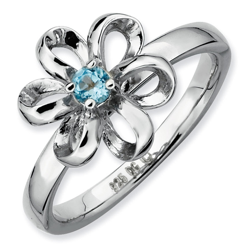 Sterling Silver Stackable Expressions 1/10 ct Blue Topaz Flower Ring