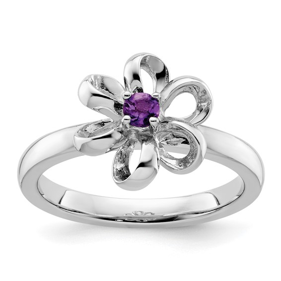 Sterling Silver Stackable Expressions .10 ct Amethyst Flower Ring