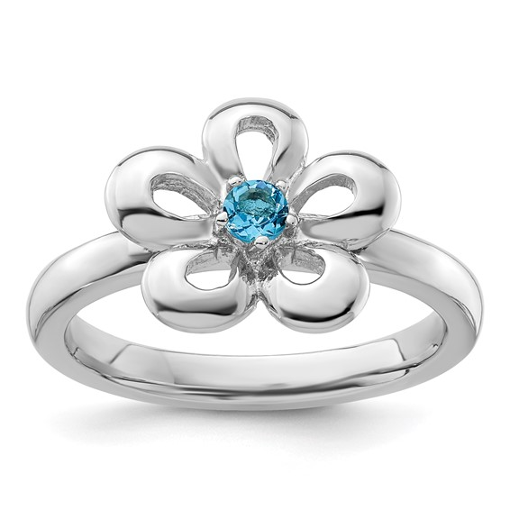 Sterling Silver Stackable Expressions Flower Ring with Blue Topaz