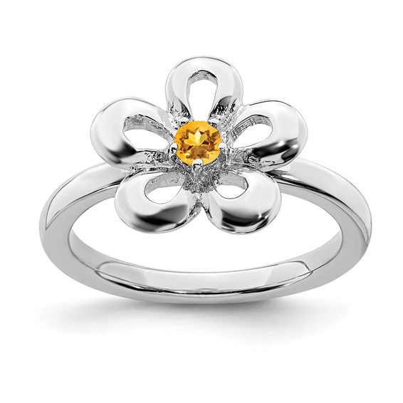 Sterling Silver Stackable Expressions Flower Ring with Citrine
