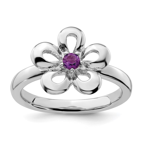 Sterling Silver Stackable Expressions Flower Ring with Amethyst