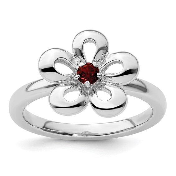 Sterling Silver Stackable Flower Ring with Garnet