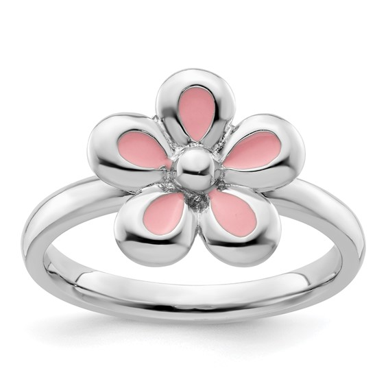 Sterling Silver Stackable Expressions Pink Enameled Flower Ring