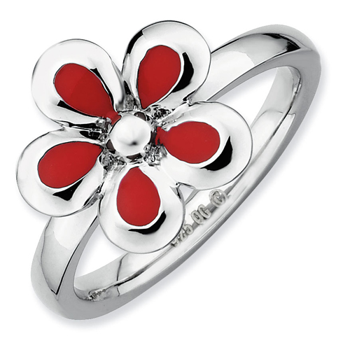 Sterling Silver Stackable Expressions Red Enameled Flower Ring