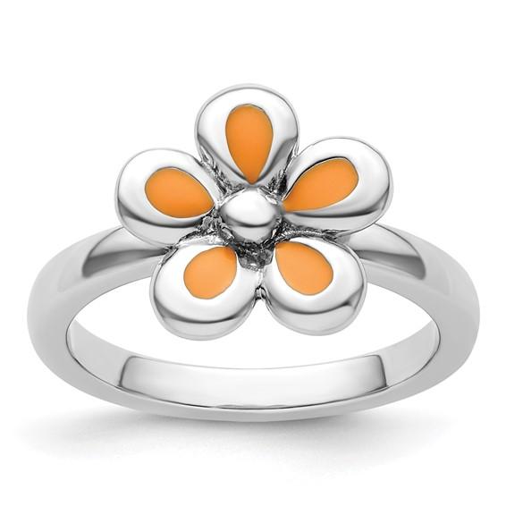 Sterling Silver Stackable Expressions Orange Enameled Flower Ring