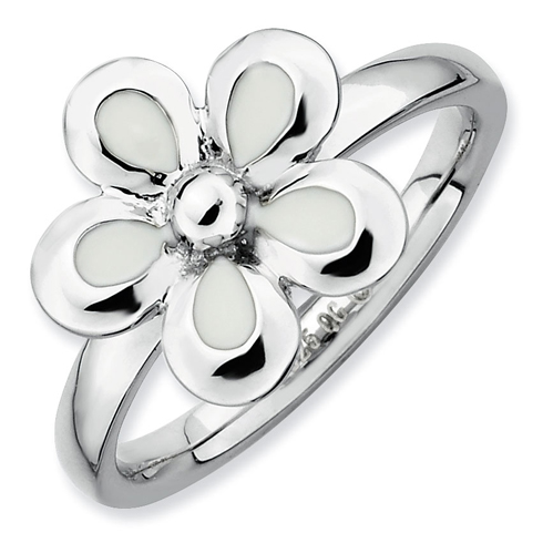 Sterling Silver Stackable Expressions White Enameled Flower Ring