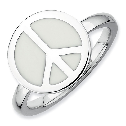 Sterling Silver Stackable White Enameled Peace Sign Ring