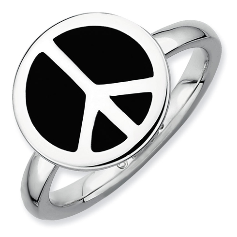 Sterling Silver Stackable Black Enameled Peace Sign Ring