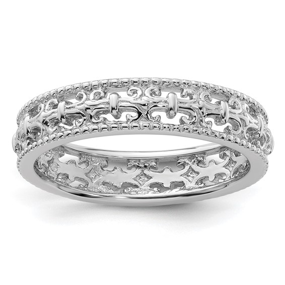 Sterling Silver Stackable Expressions 4.5mm Fleur De Lis Ring