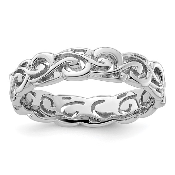Sterling Silver Stackable Expressions Patterned Ring
