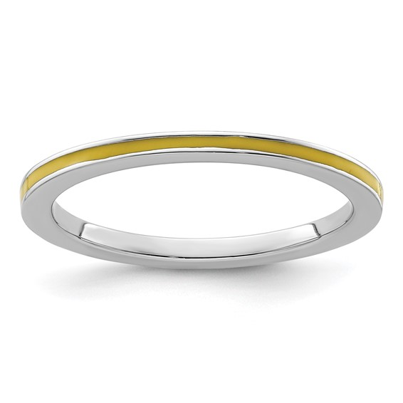 Sterling Silver Stackable Expressions Yellow Enameled 1.5mm Ring