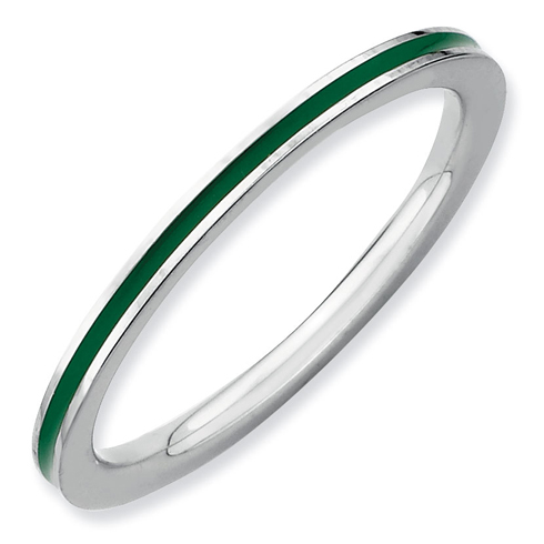Sterling Silver Stackable Expressions Green Enameled 1.5mm Ring