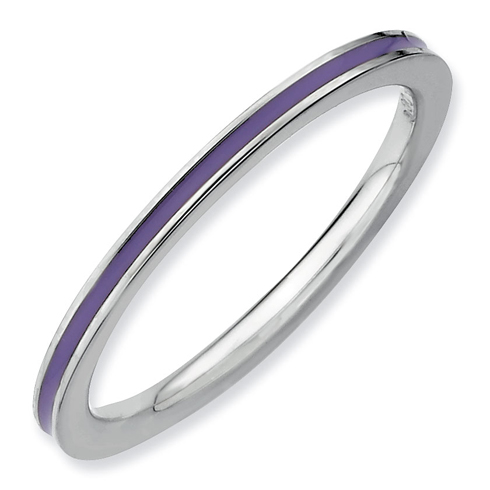 Sterling Silver Stackable Expressions Purple Enameled 1.5mm Ring