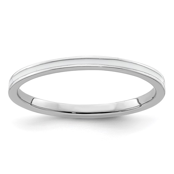 Sterling Silver Stackable Expressions White Enameled 1.5mm Ring