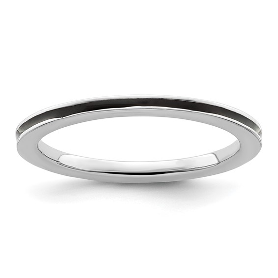 Sterling Silver Stackable Expressions Black Enameled 1.5mm Ring