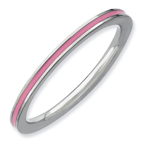 Sterling Silver Stackable Expressions Pink Enameled 1.5mm Ring