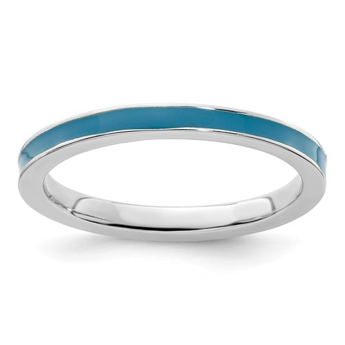 Sterling Silver Stackable Expressions Blue Enameled 2.25mm Ring