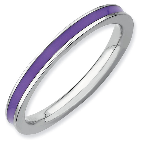 Sterling Silver Stackable Expressions Purple Enameled 2.25mm Ring