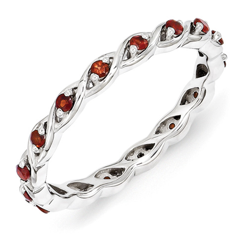 Sterling Silver 1/3 ct Garnet Eternity Ring