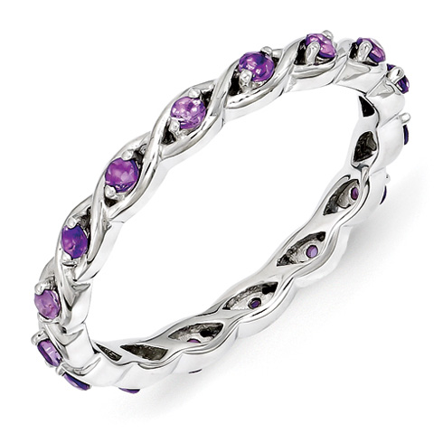 Sterling Silver 1/3 ct Amethyst Eternity Ring