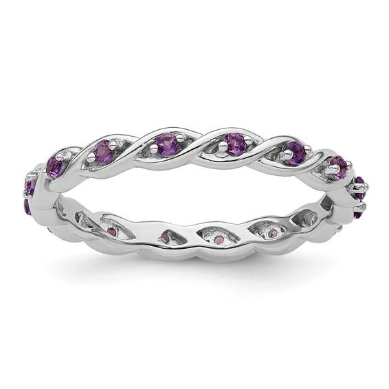 Sterling Silver 1/3 ct Amethyst Eternity Ring