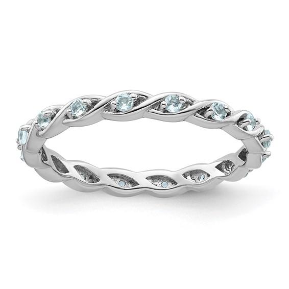 Sterling Silver 1/5 ct Aquamarine Eternity Ring