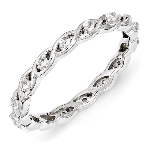 Sterling Silver 1/3 ct White Topaz Eternity Ring