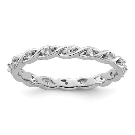 Sterling Silver 1/3 ct White Topaz Eternity Ring