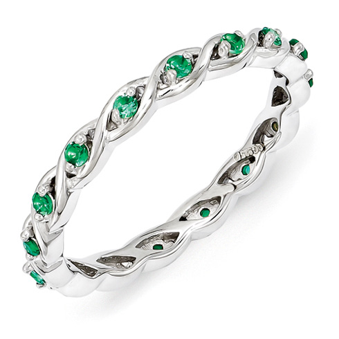 Sterling Silver 1/5 ct Created Emerald Eternity Ring