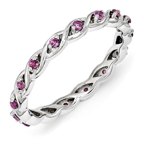 Sterling Silver 1/3 ct Rhodolite Garnet Eternity Ring
