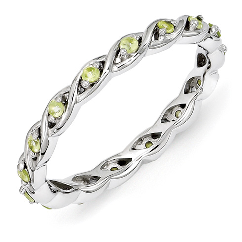 Sterling Silver 1/4 ct Peridot Eternity Ring