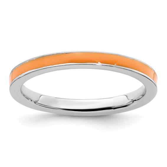 Sterling Silver Stackable Expressions Orange Enameled 2.25mm Ring