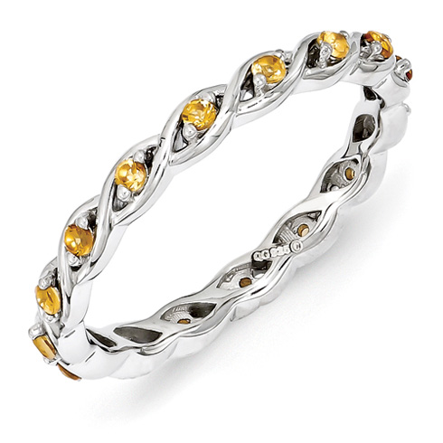 Sterling Silver 1/4 ct Citrine Eternity Ring