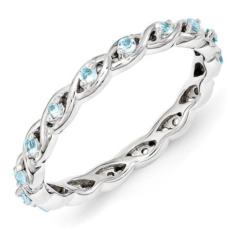Sterling Silver 1/3 ct Blue Topaz Eternity Ring