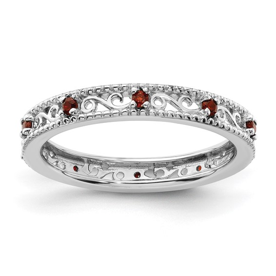 Sterling Silver 1/4 ct Garnet Stackable Eternity Ring