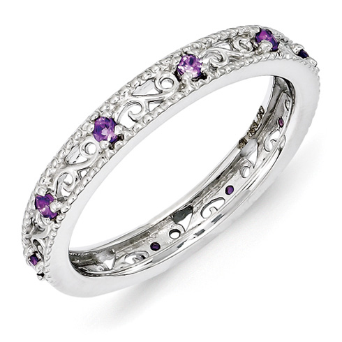 Sterling Silver 1/5 ct Amethyst Eternity Ring