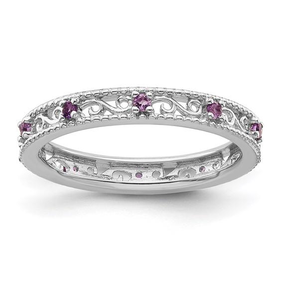 Sterling Silver 1/5 ct Amethyst Eternity Ring