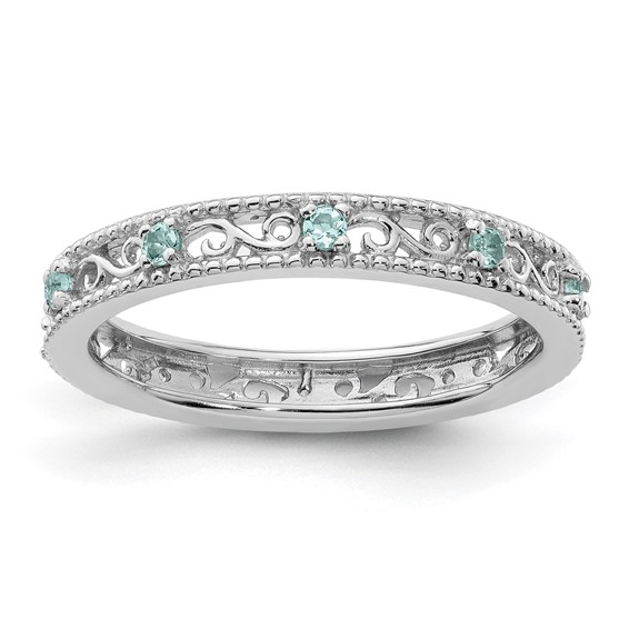 Sterling Silver 1/8 ct Aquamarine Eternity Ring