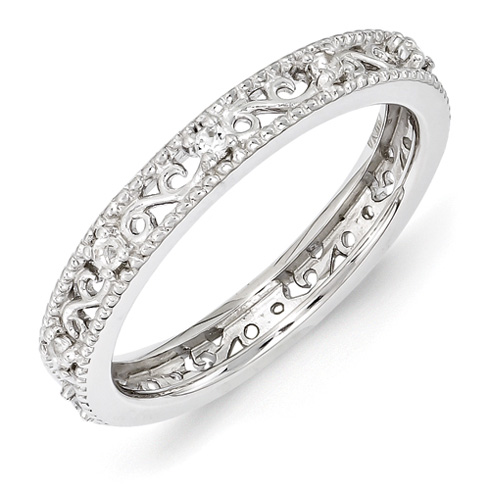 Sterling Silver 1/5 ct White Topaz Eternity Ring