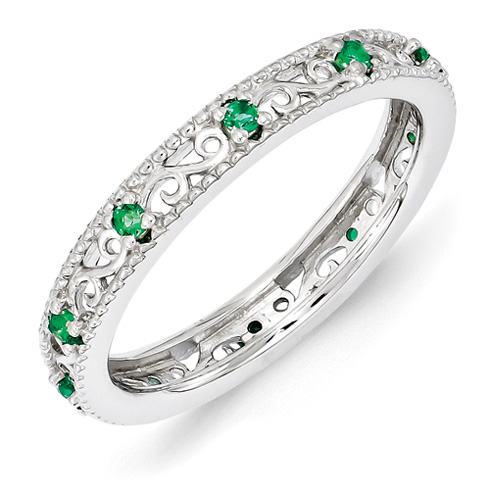 Sterling Silver 1/6 ct Created Emerald Eternity Ring