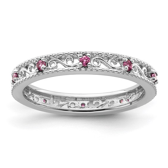 Sterling Silver 1/5 ct Rhodolite Garnet Eternity Ring