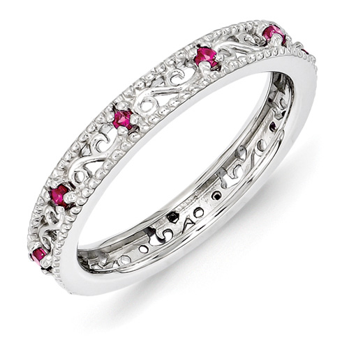 Sterling Silver 1/5 ct Created Ruby Eternity Ring