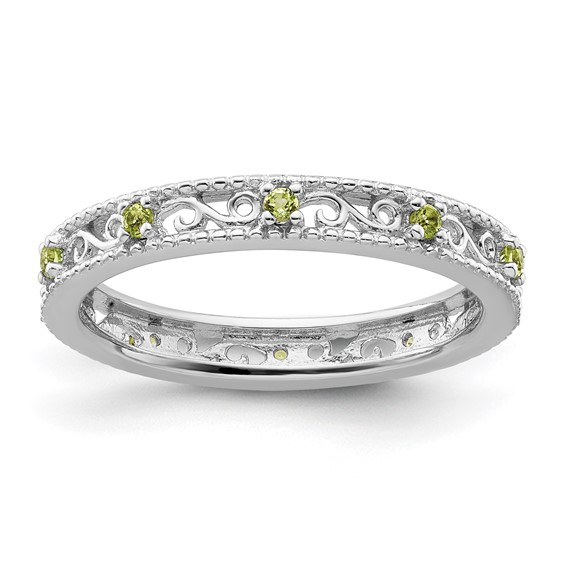 Sterling Silver 1/6 ct Peridot Eternity Ring