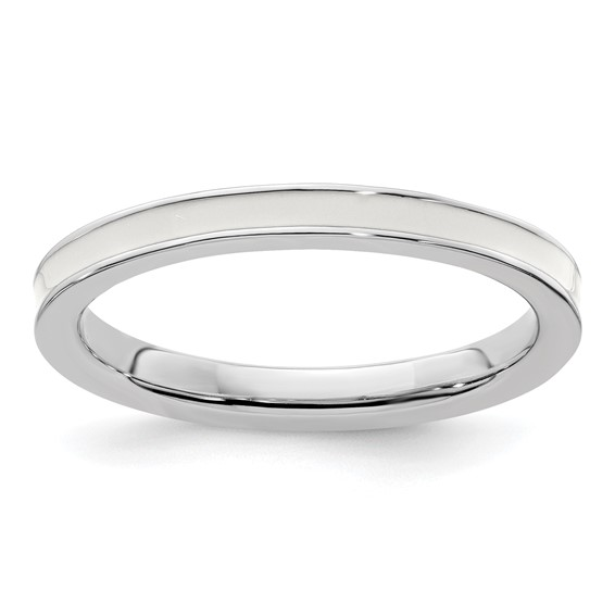 Sterling Silver Stackable Expressions White Enameled 2.25mm Ring