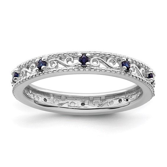 Sterling Silver 1/5 ct Created Blue Sapphire Eternity Ring
